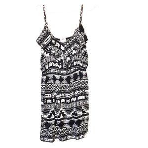 Mini Black/White Spaghetti Strap Dress
